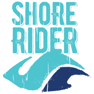 Shore Rider Logo. Teal and navy wave