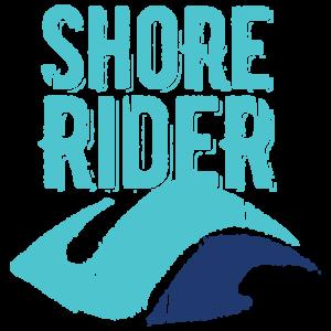 Shore Rider Logo. Teal and navy wave