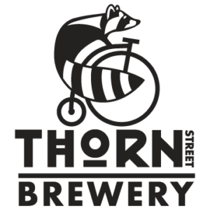 Thorn St. Brewery logo. Ralph the raccoon riding a penny farthing bike